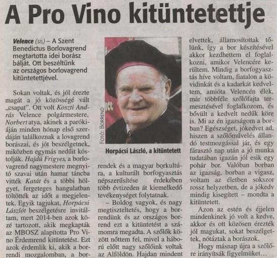A Pro Vino kitüntetettje